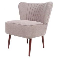 "Midcentury-inspired accent chair with an overstuffed silhouette and linen upholstery.  Product: ChairConstruction Material: Mahogany wood and linenColor: Light grayFeatures: Midcentury-inspiredDimensions: 30"" H x 24.4"" W x 28.3"" D"