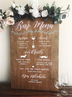 Bar menu wooden sign Wedding sign Wedding props Cocktail menu. Willow and ink. Wedding reception. Rustic wedding. Boho wedding.