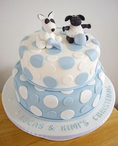 Lucas & Kimi's Christening Cake by Chaos Cakes (Emma), via Flickr Christening Cake Boy, Baby Baptism, Baby Cakes, Cupcake Cakes, Cupcakes, Cake Pop Decorating, Cake Making, Pincushions, Love Cake