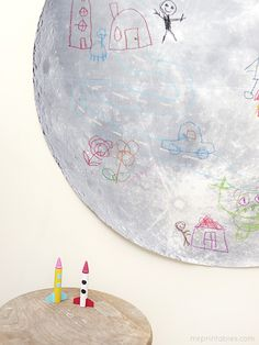 Doodle On The Moon! {free printable moon & creative crayon rocket ship craft}