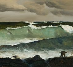 'Shark in a Wave' by Australian artist Rick Amor Oil on canvas, 66 x 92 cm. source: the artist's site. via pink pagoda studio Australian Painting, Australian Artists, Matte Painting, Surf Art, Ocean Waves, Landscape Paintings, Landscapes, Les Oeuvres, Illustration Art