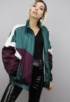 1322611ee871 Vintage 80s Bomber Jacket 1980s Silk Windbreaker Jacket Green Red ...