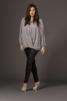 Dove Grey Embellished Neck Wrap Top with PU Animal Embossed Leggings - Plus Size Wallis - Live Unlimited AW14