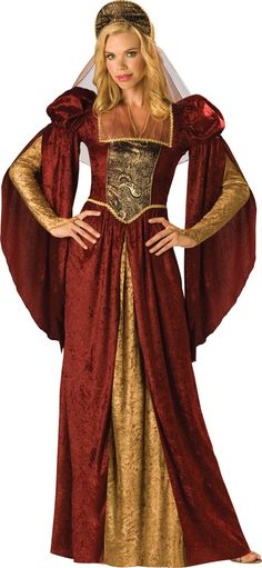 InCharacter Costumes Women's Renaissance Maiden, Burgundy/Gold, Medium