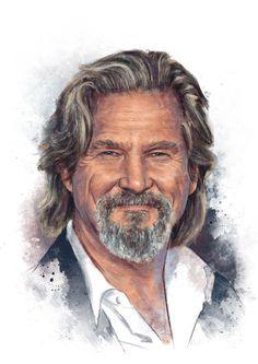 Jeff Bridges by IgnacioRC on DeviantArt Jeff Bridges, Grey Beards, Celebrities Then And Now, Freelance Illustrator, Bird Art, Actors & Actresses, Pop Culture, Beautiful People, Cinema