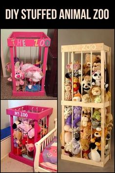 DIY Stuffed Animal Zoo- This DIY stuffed animals zoo is a neat and easy way to store your kids' stuffed animals collection. This DIY stuffed animals zoo is a neat and easy way to store your kids' stuffed animals collection. Diy Projects For Kids, Diy For Kids, Little Girls Room Decorating Ideas Toddler, Kids Room Organization, Playroom Ideas, Stuffed Animal Organization, Playroom Rug, Playroom Design, Toy Rooms