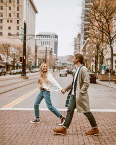 "Too busy staring at to notice the ""do not walk"" sign 🤷🏼‍♀️🥰 City Engagement Photos, Engagement Photo Poses, Engagement Photo Inspiration, Engagement Couple, Couple Photoshoot Poses, Couple Photography Poses, Couple Posing, Couple Shoot, Photography Props"