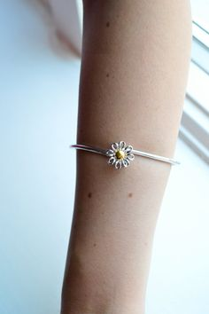 Gold Flower Bracelet Silver Cuff Bracelet Thin by barargent