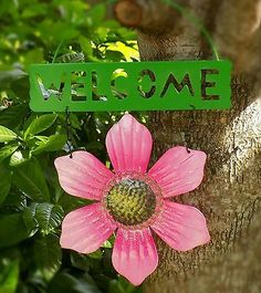 2⃣▪5⃣0⃣ @SalesForToday. also check out www.stores.ebay.com/jenscreationstx..  WELCOME SIGN -Metal Flower Garden Decor 11X8- Pink
