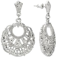 1928 Silver Tone Filigree Drop Earrings, Adult Unisex ($18) ❤ liked on Polyvore featuring jewelry, earrings, grey, post earrings, filigree jewelry, silvertone earrings, grey earrings and silver tone earrings