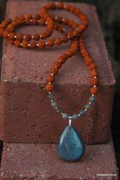 Labradorite Rudraksha Mala  - Meditation Inspired Yoga Beads