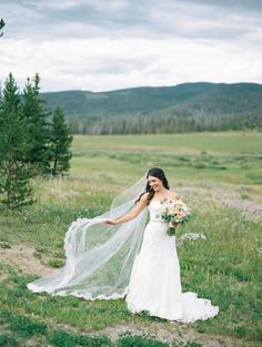 Sarah & Dan | Romantic Devil's Thumb Ranch Wedding | Sara Gabriel 'Lillian' Veil | Style My Pretty | Kelli Lyn Photography