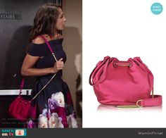 Lily's pink satin bucket bag on The Young and the Restless.  Outfit Details: https://wornontv.net/71376/ #TheYoungandtheRestless