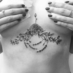 Beautiful sternum tattoo by Carin Silver