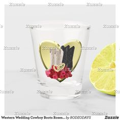 Shop Western Wedding Cowboy Boots Roses Heart Shot Glass created by RODEODAYS. Wedding Cowboy Boots, Western Weddings, Business Events, Drinking Water, Shot Glass, Westerns, Digital Prints, Roses, Heart