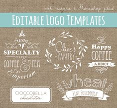 Foodie Logo Design Templates Set 5 // PSD & Vector EPS // Photoshop Template // Hand Drawn // Coffee Logo Tea Logo // Commercial Use