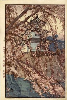 File:Yoshida Hiroshi - (1876-1950) - Hirosaki Castle, from the series 'Eight Scenes of Cherry Blossoms', woodblock, 1935, Honolulu Academy of Arts.jpg