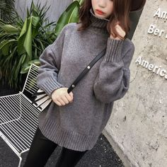 Casual Loose Style Pure Color Knitting Sweater