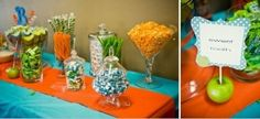 Orange, blue and green party. Love this for a boy shower instead of boring baby blue