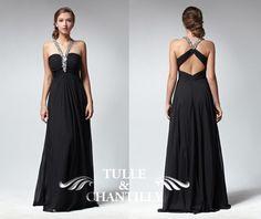Black beaded halter neck open back empire prom dress by TulleandChantilly, $144.00