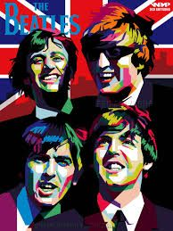 The Beatles, from top to bottom, Ringo, John, George and Paul