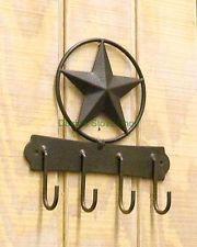 4 Hook Texas Star Western Decor Wall Mount Key/Hat Holder AC809