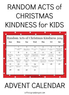 Random Acts of Christmas Kindness by coffeecupsandcrayons: Free Printable. #Parenting #Advent_Calendar #RACK