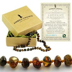 Amber Teething Necklace for Babies - Anti Inflammatory, Drooling and Teething Pain Reducing Natural Remedy - Polished Greenish Certified Baltic Amber Beads, http://www.amazon.com/dp/B00NYHK5TW/ref=cm_sw_r_pi_awdm_IQ0rxb0KR4JF4