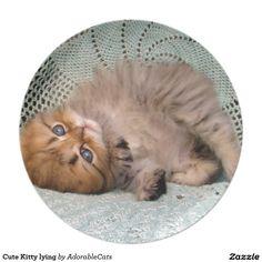 Cute Kitty lying Melamine Plate