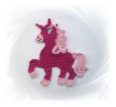 Einhorn pink Größe ca. 11 x 13 cm Häkelapplikation aus 100% Baumwolle Vielseitig verwendbar, z.B. zum Aufnähen auf Kinderkleidung, Jeans, Jacken, Mützen, Kissen, Decken, Tasche, Vörhänge, als...