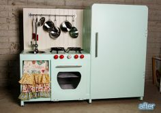 """DIY Vintage Play Kitchen: Adding """"heating element"""" and frig lights Tv Stand To Play Kitchen, Ikea Play Kitchen, Kid Kitchen, Play Kitchens, Furniture Update, Kids Furniture, Childrens Play Kitchen, Stereo Cabinet, Media Cabinet"""