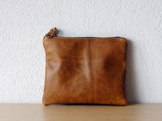 Leather Clutch in Brown Thick Cow Leather by iragrant on Etsy