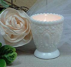 Heirloom Milk Glass Votive Holder (Pack of 6)   **SPRAY PAINT THE ONES I HAVE LIGHT BLUE**