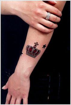 Crown Star Tattoo for Women