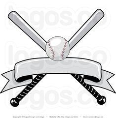 Royalty Free Baseball Bat and Ball with Blank Banner Logo