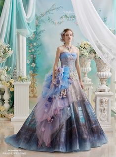 This beautiful ball gown from Pla Cole Wedding featuring romantic watercolor illustration will definitely make you the star of the day! Stunning Dresses, Beautiful Gowns, Pretty Dresses, Dress Outfits, Prom Dresses, Wedding Dresses, Colored Wedding Gowns, Fairytale Gown, Wedding Dress Patterns
