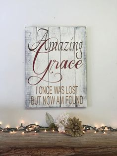 Amazing Grace for you wall! This pallet wood sign measures 13 x 20. The background is painted vintage ivory and wording is brown, Tuscan red and