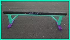 "24"" Black Suede Gymnastics Balance Beam with Teal Green Legs and purple Suede Padded Feet + Personalization! Super Cute!"