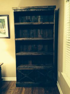 My hubby made this!!  Pallets!!