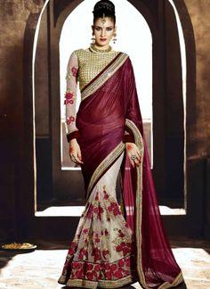 Maroon Off White Flower Thread Work Net And Lycra Georgette Half Designer Sarees http://www.angelnx.com/Sarees/Designer-Sarees