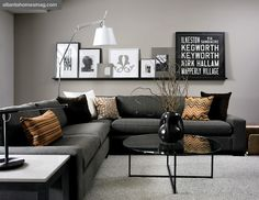 The use of gray's in this room rock! A long shelf above sofa/loveseat for easy rearrangement of art and accessories is a must :)