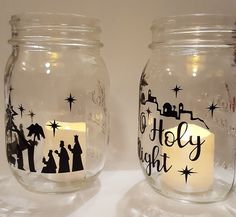 Man it has been busy this holiday season! These nativity jars are just one of the many, many custom orders that have dominated my t. Nativity Crafts, Christmas Nativity, Wine Glass, Seasons, Copycat, Tableware, Silhouettes, Jars, Holiday