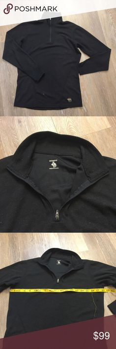 "Mountain Hardwear 1/4 Zip Top, Medium Mountain hardwear 1/4 zip long sleeve baselayer shirt in size women's Medium. Made in USA, so an older style. This is in good gently used condition but has a white fuzzy look overall. Machine washing and drying with a drier sheet might help remove the ""fuzzy"" look? No stains, rips or holes noted. Mountain Hardwear Tops Tees - Long Sleeve"