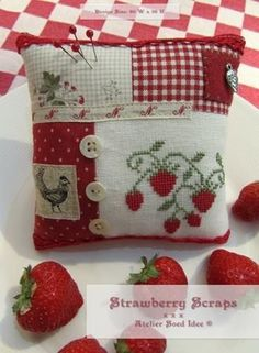 Red and white pin cushion