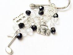 Beaded Music Charm Keychain Silver Friendship by 2BeBeadedBySana