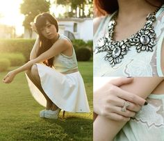 Skaters and Ice (by Kryz Uy) http://lookbook.nu/look/4776743-Grey-Avenue-Skirt-Mango-Top-And-Necklace-Skaters-And-Ice