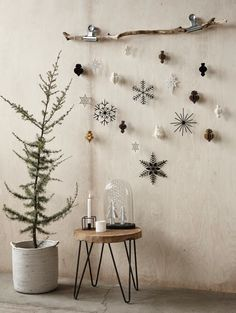 DIY Deko - 30 herbstliche Deko Ideen mit Zapfen basteln Weihnachtsdeko aus Papier an einem Ast dekoriert déco Paper Christmas Decorations, Christmas Paper, Rustic Christmas, Winter Christmas, Christmas Home, Frugal Christmas, Nordic Christmas, About Christmas, Natural Christmas Decorations