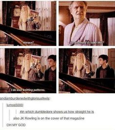 haha - Sidenote: It was when they were writing this script that she revealed that Dumbledore was gay so THEY TOTALLY DID IT ON PURPOSE.