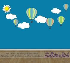 Hot Air Balloons Decal Reusable Non-toxic by WallStickerStudio
