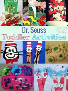 Have some fun with these fun Dr. Seuss toddler activities, we all love those wacky Dr. Seuss books, now turn them into learning activities for your toddlers. Try one of these great Dr. Dr Seuss Activities, Toddler Learning Activities, Craft Activities For Kids, Toddler Preschool, Toddler Crafts, Book Activities, Crafts For Kids, Children Crafts, Preschool Themes
